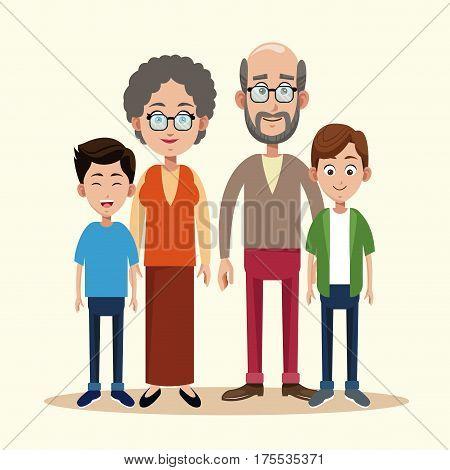 grandparents with grandchild image vector illustration eps 10