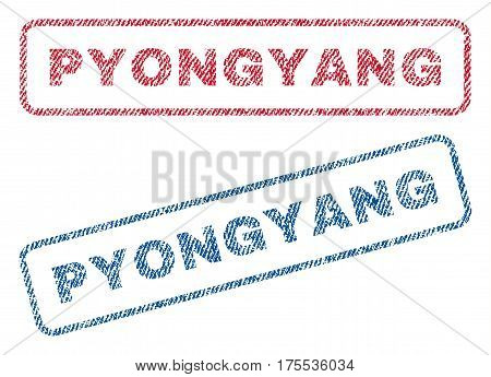 Pyongyang text textile seal stamp watermarks. Blue red fabric vectorized texture. Vector caption inside rounded rectangular banner. Rubber emblem with fiber textile structure.