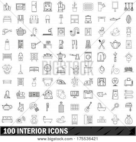 100 interior icons set in outline style for any design vector illustration