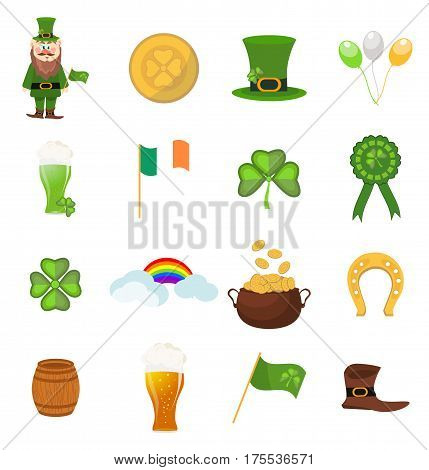 St. Patrick s Day vector design elements set. Irish saint patrick ireland symbols shamrock clover holiday luck icons. Vector leprechaun design happy symbol celtic green irish.