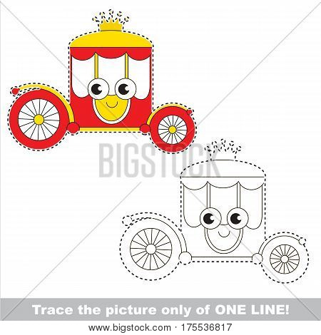 Funny Chariot to be traced only of one line, the tracing educational game to preschool kids with easy game level, the colorful and colorless version.