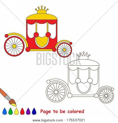 Chariot to be colored, the coloring book for preschool kids with easy educational gaming level.