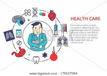 Medicine concept in flat line style. Health care vector illustration with doctor and medical items. For web, info graphic and banner.