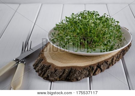 Garden cress on white plate with fork and knife.Healthy vegetarian food.Fresh herbs.