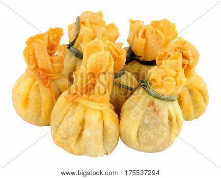 Oriental wonton dumpling snacks isolated on a white background