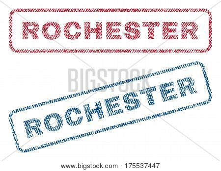 Rochester text textile seal stamp watermarks. Blue red fabric vectorized texture. Vector caption inside rounded rectangular shape. Rubber emblem with fiber textile structure.