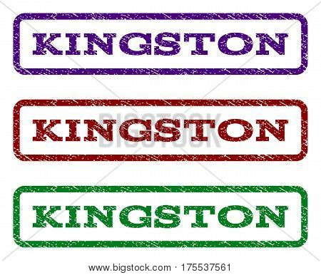 Kingston watermark stamp. Text caption inside rounded rectangle with grunge design style. Vector variants are indigo blue, red, green ink colors. Rubber seal stamp with scratched texture.