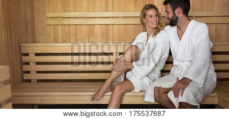 People Using Sauna At Spa Resort