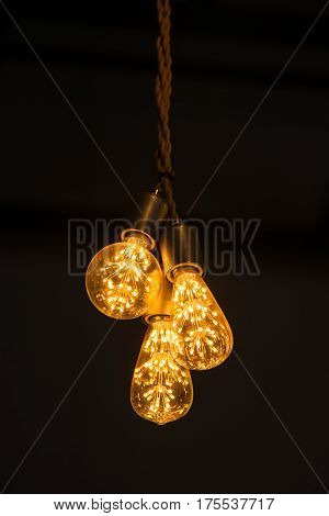 Tungsten lamp for interior. black background .