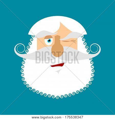 Old Man Winks Emoji. Senior With Gray Beard Face Happy Emotion Isolated