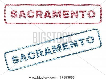 Sacramento text textile seal stamp watermarks. Blue red fabric vectorized texture. Vector caption inside rounded rectangular banner. Rubber sticker with fiber textile structure.