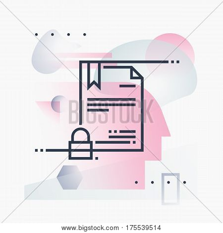 Abstract illustration concept of digital certificate security online papers technology. Premium quality unique graphic design with modern line icon symbol and colored geometric shapes on background.