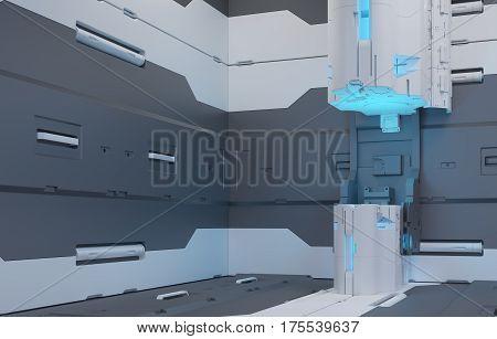 The interior of the future. Volume hologram. Futuristic interface. 3D Rendering. 3D illustraion. Original Render