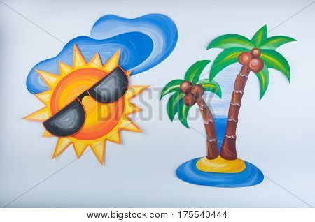 Illustration painted by gouache. Sun in goggles cloud and palm on white background.