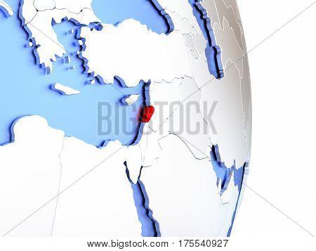 Lebanon On Elegant Modern 3D Globe
