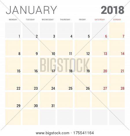 2018 Calendar Planner Vector Design Template. January. Week Starts On Monday. Stationery Design