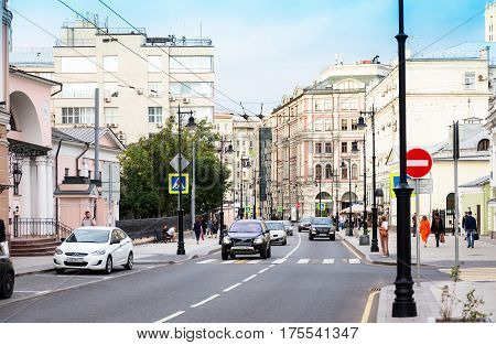 MOSCOW - AUGUST 26 2016: Traffic on Myasnitskaya street view to the former