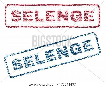 Selenge text textile seal stamp watermarks. Blue red fabric vectorized texture. Vector tag inside rounded rectangular banner. Rubber emblem with fiber textile structure.