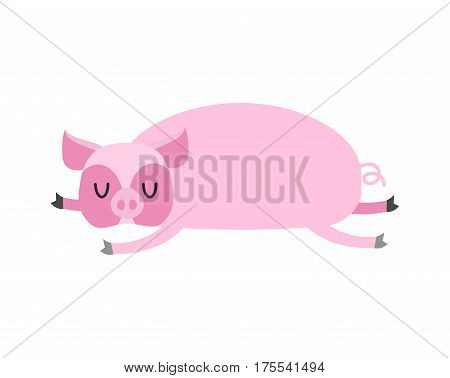 Sleeping Pig. Farm Animal Is Sleeping. Sleepy Swine