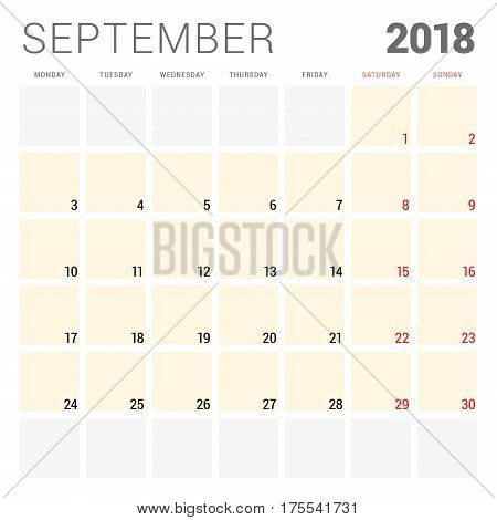 2018 Calendar Planner Vector Design Template. September. Week Starts On Monday. Stationery Design