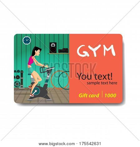 Young woman riding stationary bicycle in the gym. Sale discount gift card. Branding design to the gym and sports club