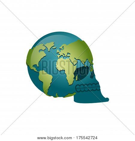 Earth Skull. Head Of Skeleton Is Planet. Continents And Oceans. Global Death