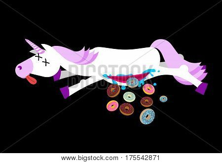 Anatomy Unicorn From Belly Intestines Fell Donut. Dead  Fantastic Animal With Horn And Doughnut. Cor