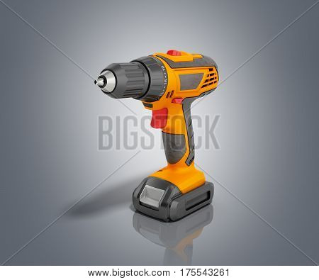 Combi Drill Impact Drill And Screw Driver 3D Render On Fgrey Background