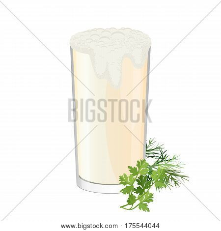 Glass of ayran with dill and parsley herbs isolated on white. Doogh or Tan cold yogurt beverage mixed with salt. Refreshing drink made by mixing yogurt with iced water realistic vector illustration