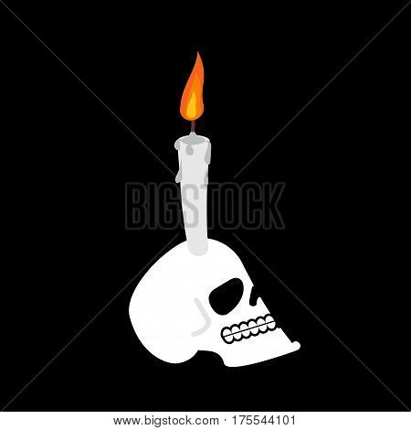 Skull And Candle. Head Of Skeleton Is Witch Mystic Lamp. Black Magic Illuminator