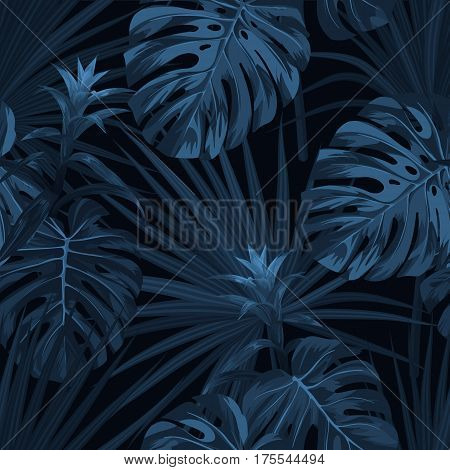 Exotic tropical background with hawaiian plants and flowers. Seamless indigo pattern with monstera and sabal palm leaves, guzmania flowers. Vector illustration.