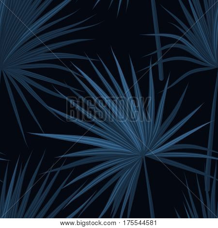 Dark tropical background with jungle plants. Seamless tropical pattern with sabal palm leaves. Denim indigo colors. Vector illustration.