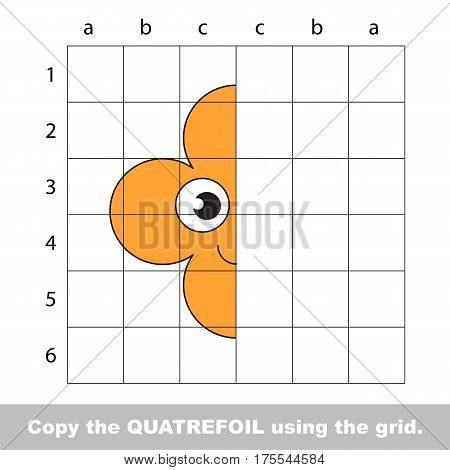 Finish the simmetry picture using grid sells, vector kid educational game for preschool kids, the drawing tutorial with easy gaming level for half of Orange Quatrefoil