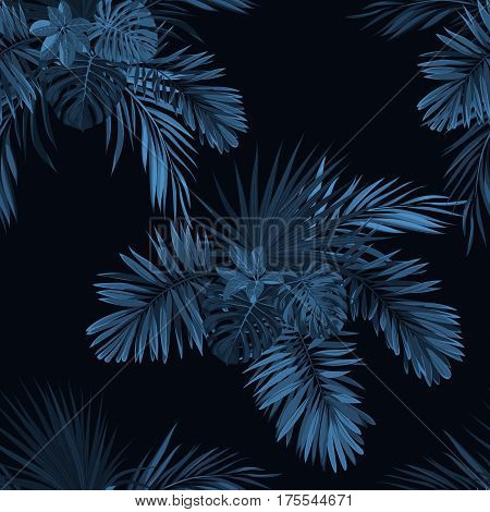 Blue indigo tropical pattern with jungle plants. Seamless vector tropical fabric design with phoenix palm leaves. Vector illustration.