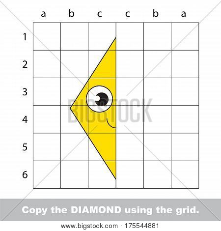 Finish the simmetry picture using grid sells, vector kid educational game for preschool kids, the drawing tutorial with easy gaming level for half of Yellow Rhombus