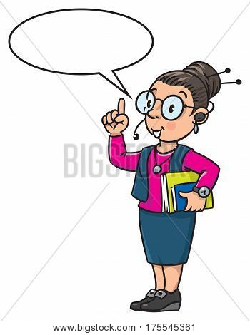 Interpreter or translator in office. A smart woman in round glasses and a suit with books under his arm and headset, raised index finger. Profession series. Children vector illustration. With balloon