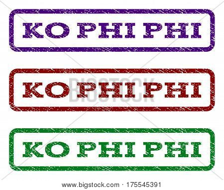 Ko Phi watermark stamp. Text tag inside rounded rectangle with grunge design style. Vector variants are indigo blue, red, green ink colors. Rubber seal stamp with dirty texture.