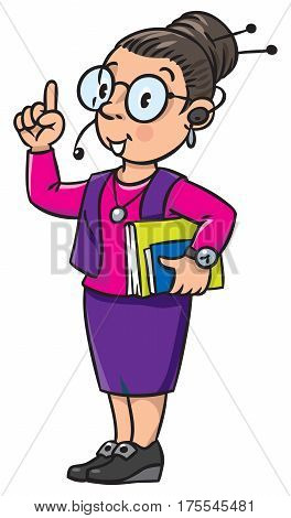 Funny interpreter or translator in office. A smart woman in round glasses and a suit with books under his arm and headset, raised index finger. Profession series. Children vector illustration.