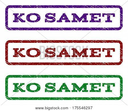 Ko Samet watermark stamp. Text caption inside rounded rectangle with grunge design style. Vector variants are indigo blue, red, green ink colors. Rubber seal stamp with scratched texture.