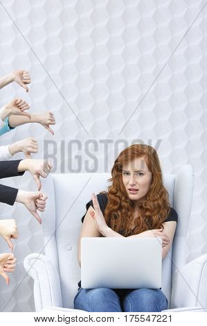 Disgusted Girl With Laptop