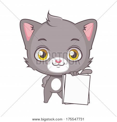 Cute Gray Cat Character Holding Up Blank Pieces Of Paper