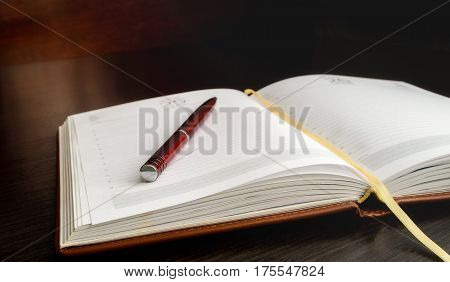 The open organizer and pen lie on a table. Small depth of sharpness. Without people. Horizontal format. Color. Indoors. Photo.