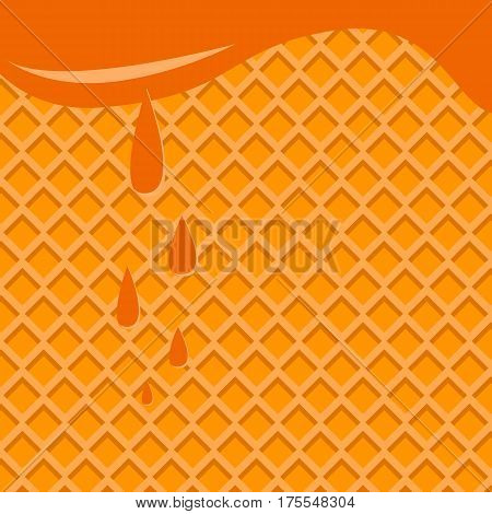 Honey background from the honeycomb drops of honey and caramel vector image.