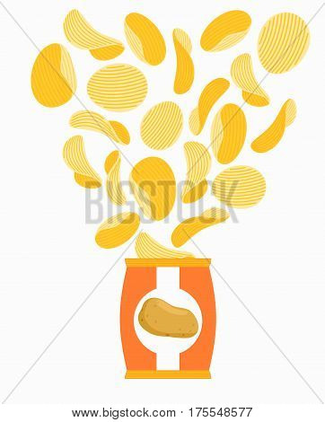 Potato chips and pack. Packaging of chip on white background. snack flying out from bag