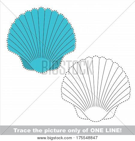 Blue Seashell to be traced only of one line, the tracing educational game to preschool kids with easy game level, the colorful and colorless version.
