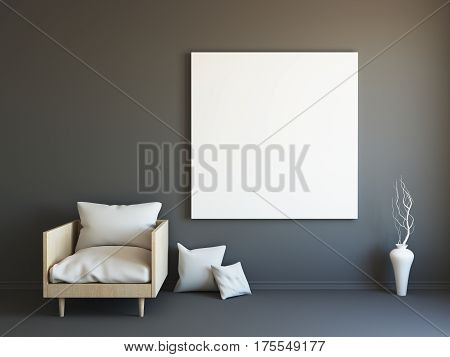 Interior mockup illustration, 3d render of scandinavian style black room with armchair and blank wall