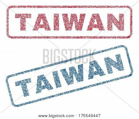 Taiwan text textile seal stamp watermarks. Blue red fabric vectorized texture. Vector tag inside rounded rectangular shape. Rubber sticker with fiber textile structure.