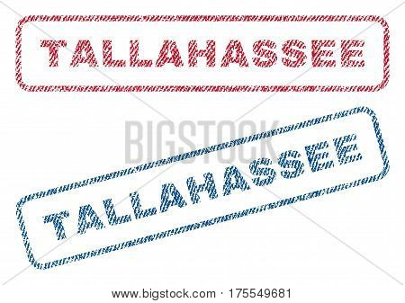 Tallahassee text textile seal stamp watermarks. Blue red fabric vectorized texture. Vector tag inside rounded rectangular shape. Rubber emblem with fiber textile structure.