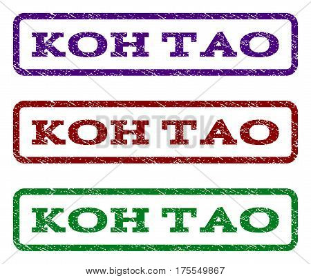 Koh Tao watermark stamp. Text tag inside rounded rectangle frame with grunge design style. Vector variants are indigo blue, red, green ink colors. Rubber seal stamp with dust texture.