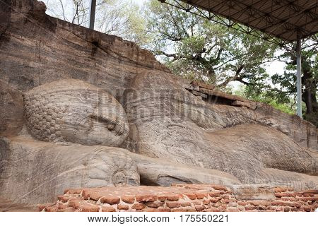 Statue of lying Buddha at Gal Vihara in Polonnaruwa or Pulattipura ancient city Kingdom of Polonnaruwa in Sri Lanka